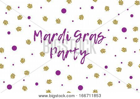 Mardi gras greeting card with text, violet and gold dots. Inscription - Mardi Gras Party