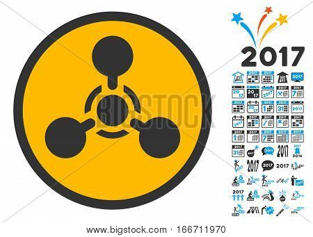 Wmd Nerve Agent Chemical Warfare icon with bonus 2017 new year clip art. Vector illustration style is flat iconic symbols, modern colors.