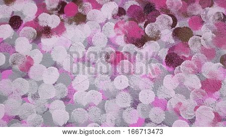 gray and pink abstract dots in texture paint