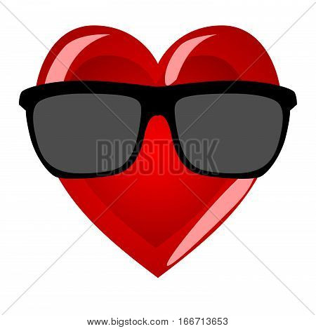 Mr heart on a white background. Cool character in hipster sunglasses Valentine's Day.