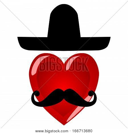 Mr heart. Colorful characters with a mustache in a large Mexican hat. Image - the icon on a white background