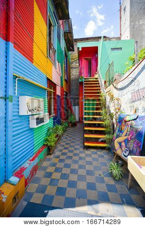 Buenos Aires, Argentina - Nov 29, 2016: Colorful building of Caminito street in La Boca neighborhood - Buenos Aires, Argentina.