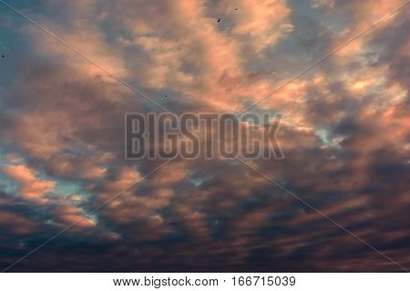 colorful sunset with pocked clouds . Sky background.
