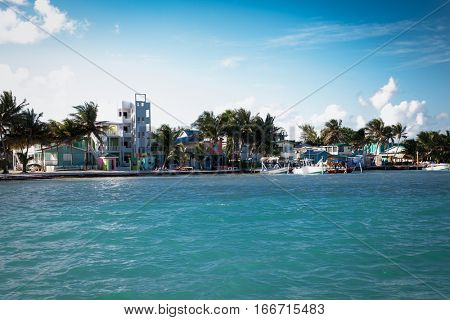Panoramic view of the beach of Caye Caulker a small island located approximately 20 miles from Belize City Belize