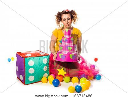 Woman animated preparing for party for children in children's club