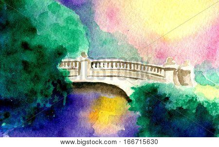 watercolor sketch of bridge and nature. River