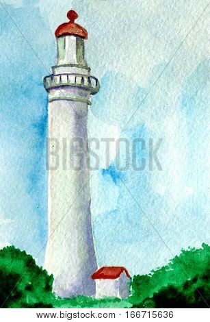 watercolor sketch of lighthouse with little home