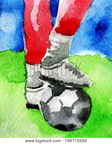 watercolor sketch of soccer ball with his feet on the football field