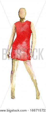 watercolor sketch of dummy isolated on white background