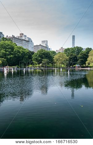 Central Park lake filled with RC boats