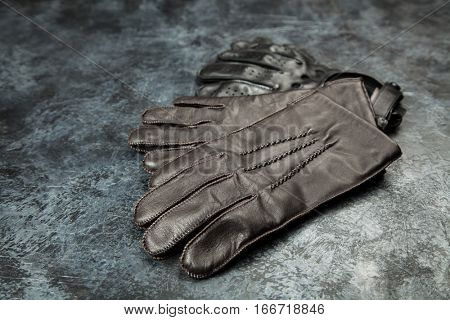 Two pairs of leather gloves