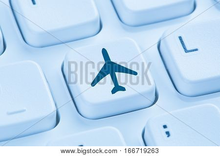 Booking Flight Holidays Vacation Online Shopping E-commerce Internet Travel Shop Blue Computer Keybo