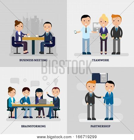 Business people flat concept with collaborating employees in negotiation discussion and at meeting vector illustration