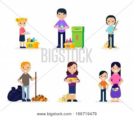 Garbage cleaning flat set of people gathering collecting and sorting waste isolated vector illustration