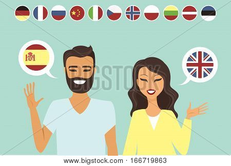 Couple speaking different languges flat vector illustration