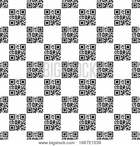Seamless wallpaper pattern with Qr code. Modern stylish texture. Geometric background