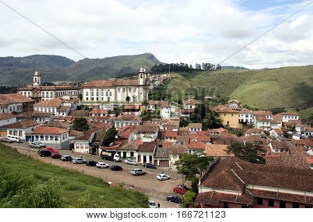 Panoramic view over Ouro Preto an old colonial village near Belo Horizonte in Brazil.