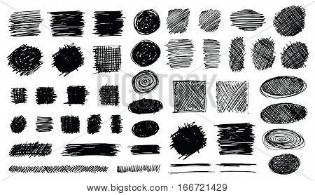 Set of hand drawn scribble symbols isolated on white. Doodle style sketches. Shaded and hatched badges and bubble shapes. Monochrome vector eps8 design elements.