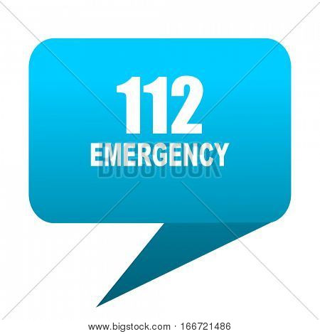 number emergency 112 blue bubble icon