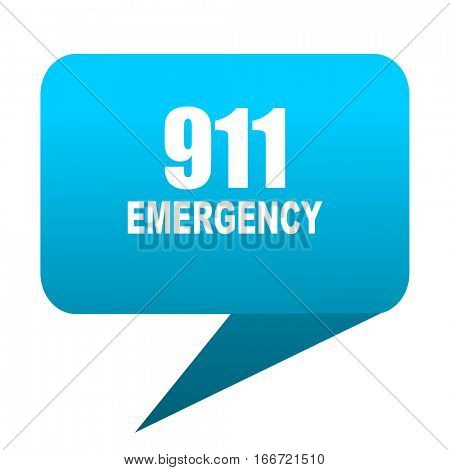 number emergency 911 blue bubble icon