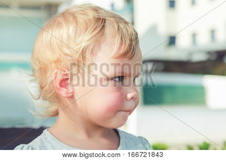 Caucasian Blond Baby Girl, Close-up