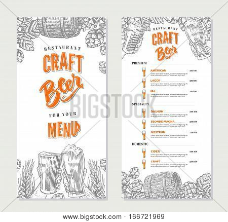Alcoholic beverages restaurant menu template with different sorts of beer in engraving style vector illustration