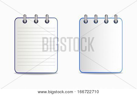 Icon of notebook blue color in two variants. Tear-off notepad on the rings with lines and without them.  Vector icon in flat style on the white background.
