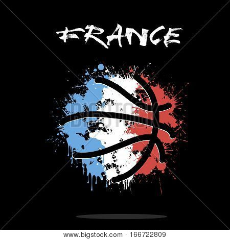 Abstract basketball ball painted in the colors of the France flag. Vector illustration