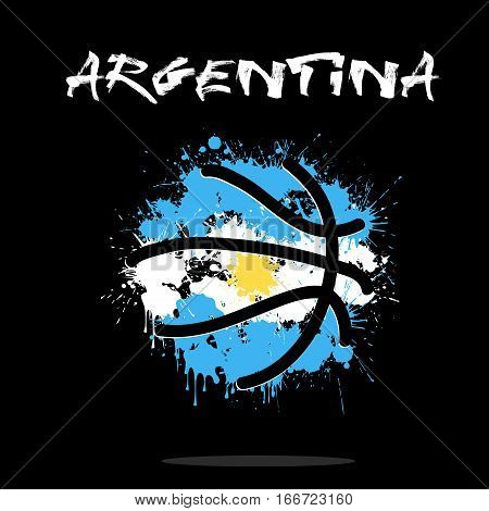 Abstract basketball ball painted in the colors of the Argentina flag. Vector illustration