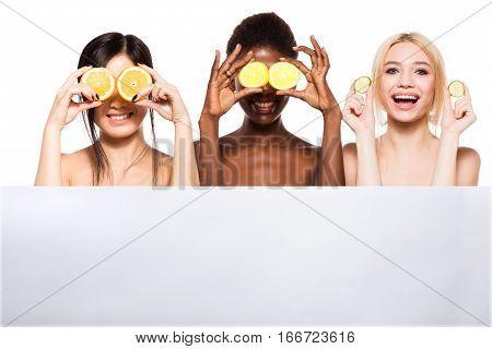 Diversity Ethnicity Women Over An Empty Panel