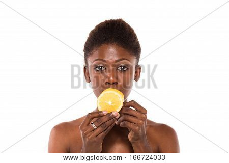 Afro American Woman Posing With Slices Of Lemon