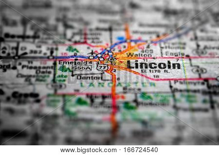 Travel to locations on map views paper destinations Lincoln Nebraska