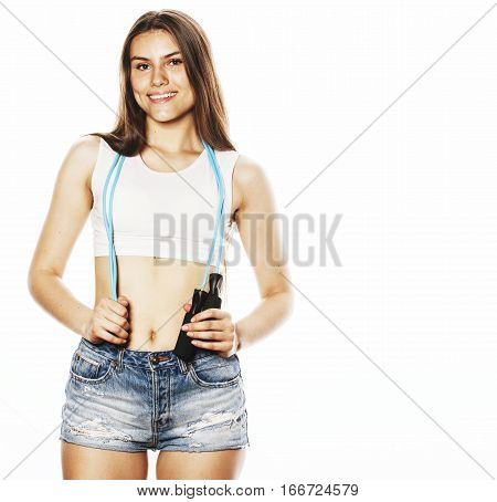 young pretty woman with skipping rope isolated on white watching shape