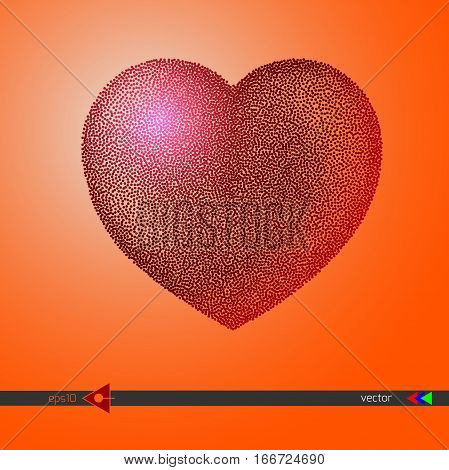 Vector Heart Pink Dots. Black Red Dots And Confetti. Symbol And Logo Heart Pixel. Winter Valentines