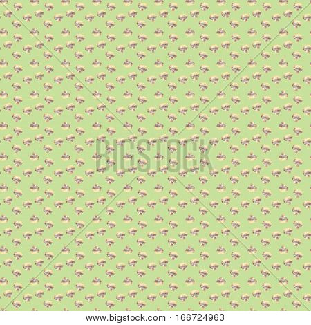 Small mushrooms champignon on green background. Watercolor hand made. Seamless colorful pattern. Could be used for textile or in design