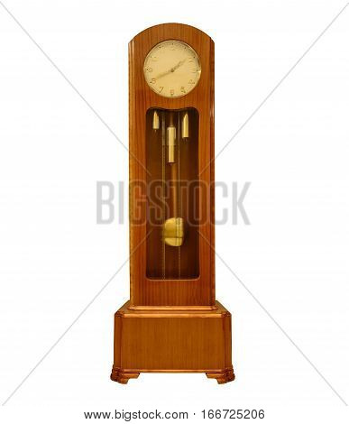 Vintage grandfather big clock isolated on white background