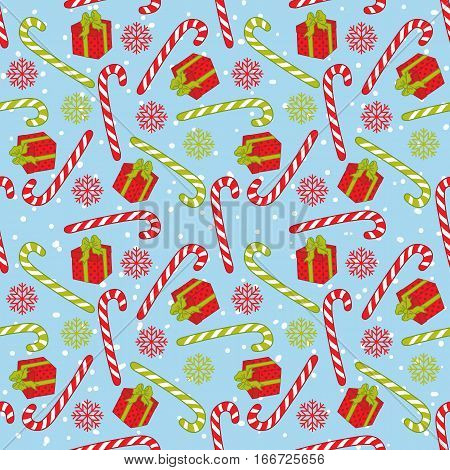 Vector seamless pattern with candy stick, snowflake  and gift box