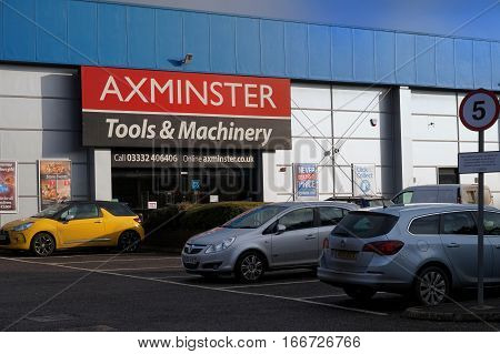 Basingstoke, Uk - 25 Jan 2017: Exterior Shop Front And Car Park Of The Axminster Tools And Machinery