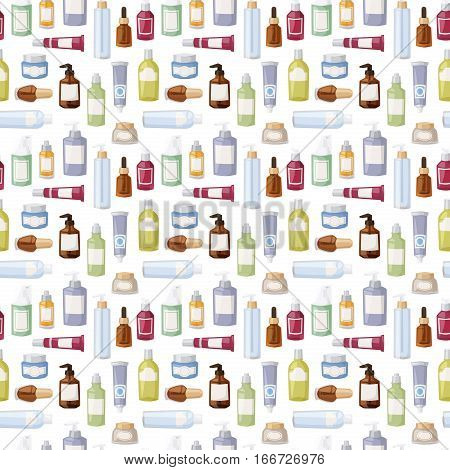 Cosmetics packages beauty products seamless pattern vector. Cream design product care lotion liquid container. Packaging blank gel body spray background.