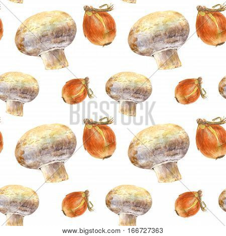 Champignon and onion on white background. Watercolor hand made. Seamless colorful pattern. Could be used for textile or in design