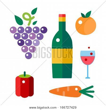 Bunches of grapes grow viticulture vector illustration. Blue nature food isolated juicy berry. Winery harvest natural purple agriculture nutrition.