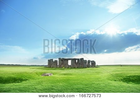 sunny day and Stonehenge, UK