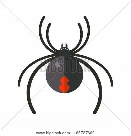 Spider silhouette arachnid fear graphic flat scary animal poisonous design. Nature phobia insect danger vector icon. Horror tarantula halloween creepy warning symbol.