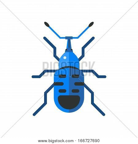 Insect icon flat isolated on white background. Nature flying cockroach beetle vector ant. Wildlife spider grasshopper or mosquito dragonfly animal illustration.