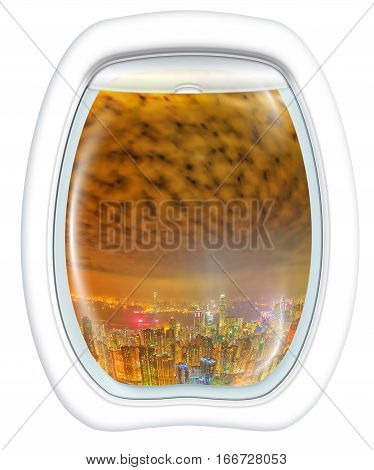 Airplane window on Hong Kong by night, China Asia, from a plane through the porthole window. Concept of transport, travel, vacation and leisure. Fisheye view. Isolated on white background, copy space.