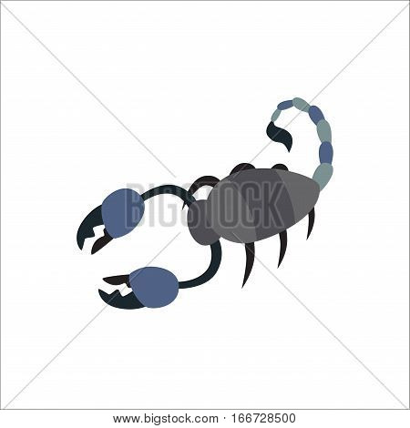 Scorpion silhouette tattoo poison insect claw graphic tail. Vector drawing nature zodiac horoscope animal symbol. Danger stinger wild toxic organism.