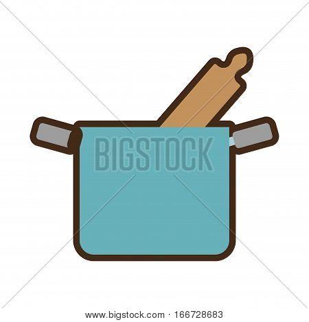blue pot rolling pin cook kitchenware vector illustration eps 10