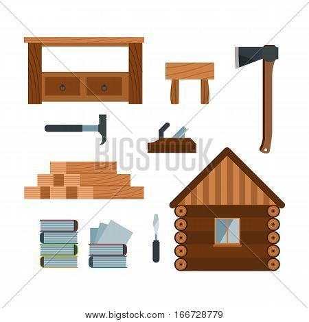 Lumberjack cartoon tools icons vector illustration. Timber house isolated on white background. Wood material nature industry design. Cutting deforestation elements equipment