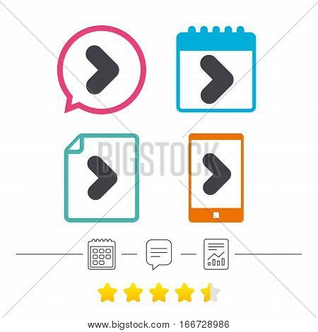 Arrow sign icon. Next button. Navigation symbol. Calendar, chat speech bubble and report linear icons. Star vote ranking. Vector