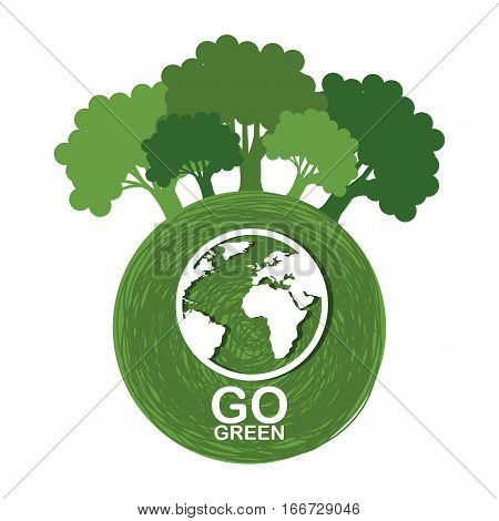 go green ecology poster vector illustration design
